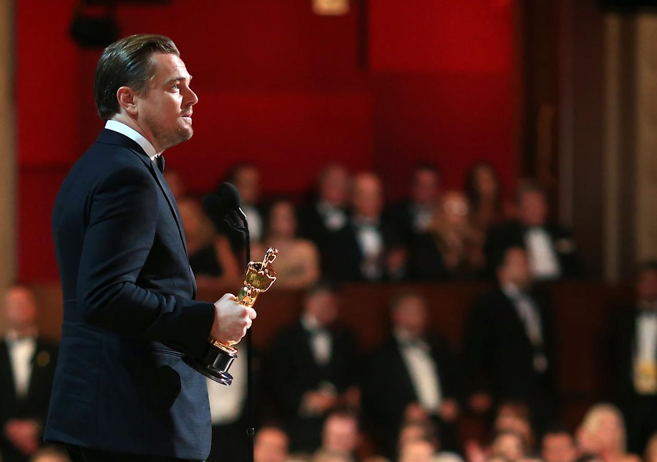 """<p><a class=""""sugar-inline-link ga-track"""" title=""""Latest photos and news for Leonardo DiCaprio"""" href=""""https://www.popsugar.com/Leonardo-DiCaprio"""" target=""""_blank"""" data-ga-category=""""Related"""" data-ga-label=""""https://www.popsugar.com/Leonardo-DiCaprio"""" data-ga-action=""""&lt;-related-&gt; Links"""">Leonardo DiCaprio</a> gave a speech on stage after <a href=""""https://www.popsugar.com/entertainment/Leonardo-DiCaprio-Wins-First-Oscar-2016-40331386"""" class=""""ga-track"""" data-ga-category=""""Related"""" data-ga-label=""""http://www.popsugar.com/entertainment/Leonardo-DiCaprio-Wins-First-Oscar-2016-40331386"""" data-ga-action=""""In-Line Links"""">accepting his first Oscar</a> for best actor in <strong>The Revenant</strong>.<br></p>"""