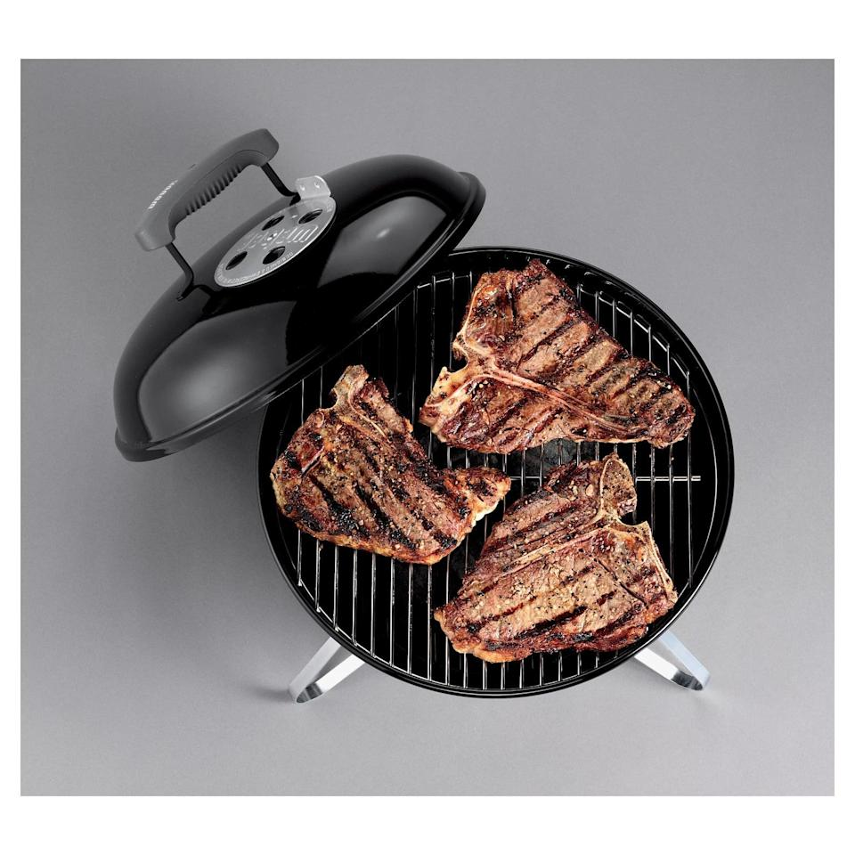 """<p>The <span>Weber 14"""" 10020 Portable Grill</span> ($38) is a charcoal porcelain coated grill that has an ash catcher. The plated steel cooking grate has enough cooking space to feed a small group at a time. It's a little under 10 pounds so you can take this with you wherever you go, from hiking to the beach.</p>"""