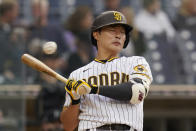 San Diego Padres' Ha-Seong Kim moves back from an inside pitch while batting during the fourth inning of the team's baseball game against the Pittsburgh Pirates, Wednesday, May 5, 2021, in San Diego. (AP Photo/Gregory Bull)