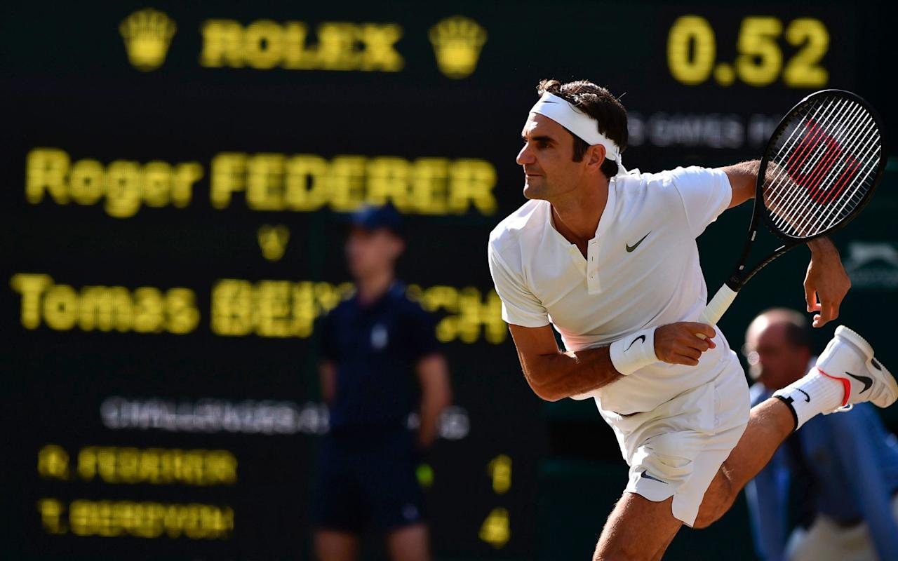 """Uncertainty, they say, is the life blood of sport. This may be true in the majority of cases. But when Roger Federer plays tennis, many of his admirers don't care whether the match is close or not. They just want to see peak Roger: their idol at his most magisterial. So where would we place Friday's 7-6, 7-6, 6-4 victory over Tomas Berdych on this scale? It was probably an eight out of ten, maybe climbing to eight-and-a-half. To put it another way, Federer produced more magic in 138 minutes than many players have conjured up in their entire careers. Inevitably, he received a standing ovation at the end. In her marvellous book Love Game, Elizabeth Wilson wrote that """"The tennis match may seem at one level like a duel or a fight, but it is also a dance, with its own elaborate courtesies … more like a day at the opera at Glyndebourne than an afternoon of football at the Emirates Stadium."""" This is never more true than when Federer is playing. Federer's opponent, as far as most spectators are concerned, is not there to remove him from the tournament. God forbid! Instead, he is like the straight man in a comedy duo, or the assistant in an illusionist's act: someone to weave tricks and routines around. And then to accept a sympathetic round of applause, while the true star takes the bouquets. Federer produced more magic in 138 minutes than many players have conjured up in their entire careers Credit: PA Berdych has played this role to perfection over the years. He, Milos Raonic and Kei Nishikori have long been the bridesmaids of the tour. Immensely rugged and powerful, with the physique of a Greek god, he served at a ferocious lick yesterday, making breaks hard to come by. As a result, he extended Federer past the two-hour mark for the first time in this tournament. But did anyone really think that Berdych could actually win? The challenger's plan was to launch a series of piledriving crosscourt forehands. In the early stages, Berdych succeeded in knocking Federer off balan"""