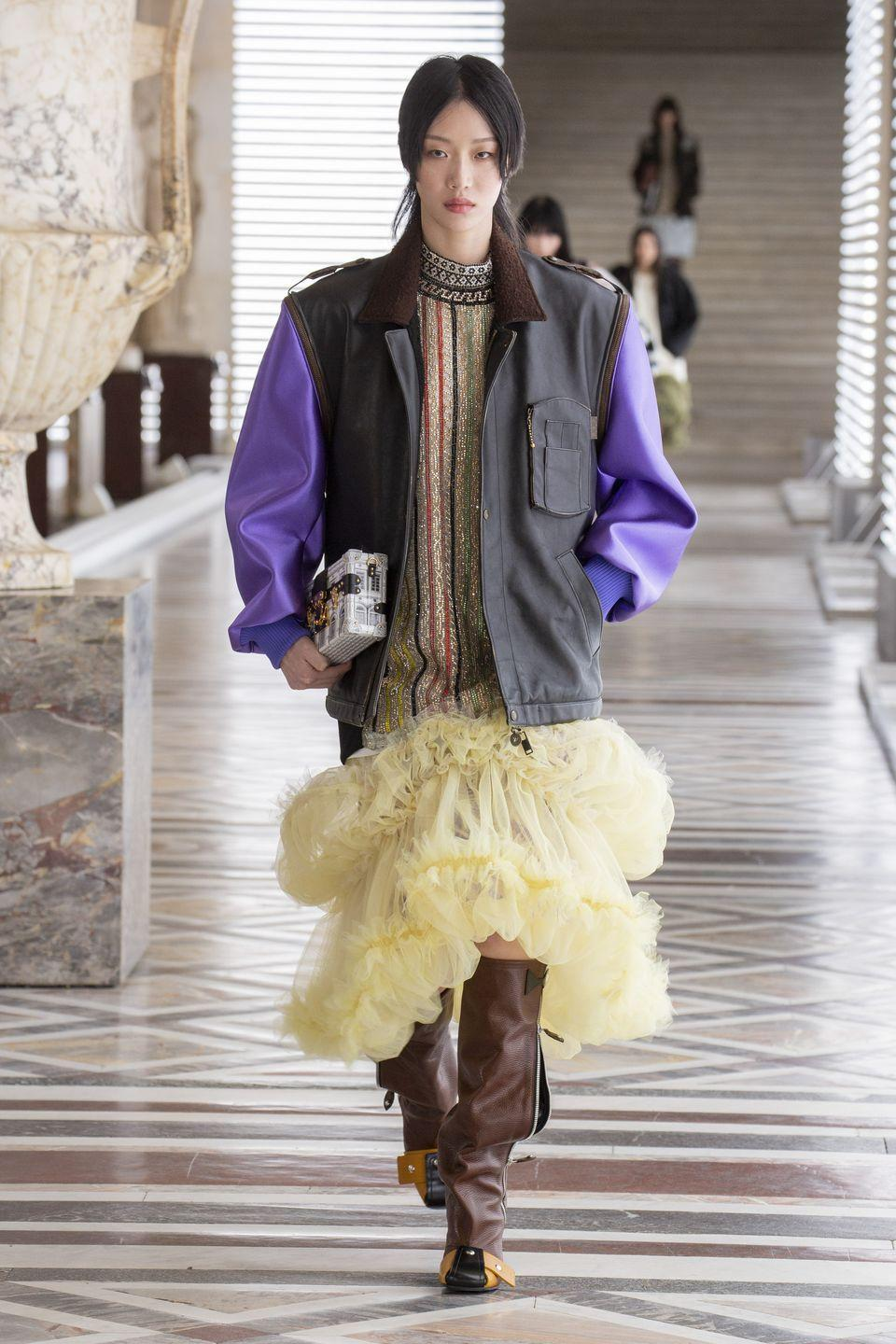 "<p>The Louis Vuitton autumn/winter 2021 collection – which was unveiled with a catwalk show in the galleries of the Louvre – was inspired by time travel and mythology, and featured a collaboration with Italian artistic design atelier Fornasetti.</p><p>""There's no need to venture far to create the impression of travelling,"" read the show notes. ""It's enough to reach far back… to the Golden Age, or Age of Enlightenment, eras that forged the essence of our civilisation. Everything is expressed so purely in Greco-Roman antiquity, the acme of an aesthetic whose primacy is uncontested. More than a journey, Louis Vuitton embarks on an odyssey with a AW21 collection that incorporates fabulous drawings by Fornasetti, the delicate, fanciful engravings of an enduring era. His imaginative strokes explore, illustrate and impart style.""</p><p><a href=""https://uk.louisvuitton.com/eng-gb/magazine/articles/women-fall-winter-2021-show-paris"" rel=""nofollow noopener"" target=""_blank"" data-ylk=""slk:Watch the show in full here."" class=""link rapid-noclick-resp"">Watch the show in full here.</a></p>"