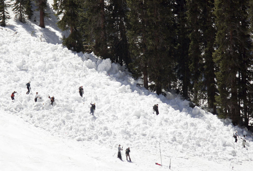 FILE - Members of the Summit County Rescue Group search the slide area on the Pallavicini trail at Arapahoe Basin Ski Area, after an avalanche killed a 54-year-old Colorado man in Breckenridge, Colo., in this Friday, May 20, 2005, file photo. A warning from avalanche experts for anyone venturing into the backcountry: The threat of slides may only be growing worse. (AP Photo/Chris Doane)