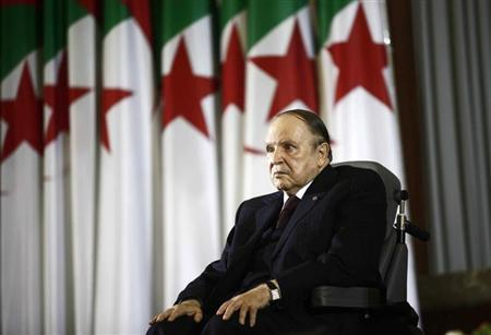 President Abdelaziz Bouteflika looks on during a swearing-in ceremony in Algiers