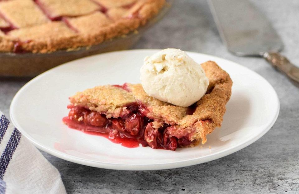 """<p>This spelt sour cherry pie recipe is divided into three steps for the crust, the filling and the topping, making it easy to follow. If you like cherries but you'd rather them in cookies, cakes and breads instead, here are <a href=""""https://www.thedailymeal.com/entertain/15-best-damn-cherry-dessert-recipes-ever-slideshow?referrer=yahoo&category=beauty_food&include_utm=1&utm_medium=referral&utm_source=yahoo&utm_campaign=feed"""" rel=""""nofollow noopener"""" target=""""_blank"""" data-ylk=""""slk:our best cherry dessert recipes"""" class=""""link rapid-noclick-resp"""">our best cherry dessert recipes</a>.</p> <p><a href=""""https://www.thedailymeal.com/recipes/spelt-sour-cherry-pie-recipe?referrer=yahoo&category=beauty_food&include_utm=1&utm_medium=referral&utm_source=yahoo&utm_campaign=feed"""" rel=""""nofollow noopener"""" target=""""_blank"""" data-ylk=""""slk:For the Spelt Sour Cherry Pie recipe, click here."""" class=""""link rapid-noclick-resp"""">For the Spelt Sour Cherry Pie recipe, click here.</a></p>"""