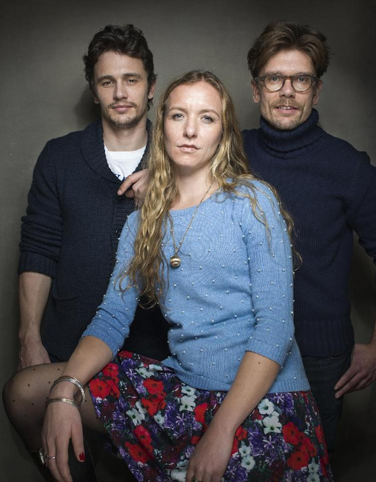 "From left, Producer James Franco, director Christina Voros and filmmaker Travis Mathews from the film ""Kink"" pose for a portrait during the 2013 Sundance Film Festival, on Sunday, Jan. 20, 2013 in Park City, Utah. (Photo by Victoria Will/Invision/AP Images)"