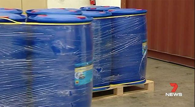 When Border Force busted the container open, they found 120 barrels of car washing shampoo. The deadly party drug was hidden inside 10. Source: 7 News