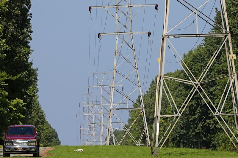 Power lines deliver electricity to rural Orange County near Hillsborough, N.C., in August 2018.