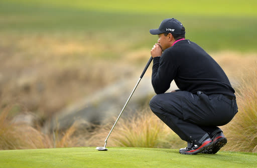 Tiger Woods waits to putt on the second green during the second round of the Northwestern Mutual World Challenge golf tournament at Sherwood Country Club, Friday, Dec. 6, 2013, in Thousand Oaks, Calif. (AP Photo/Mark J. Terrill)