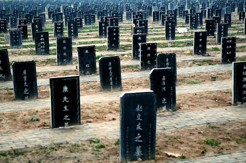 Tombstones at a public cemetery in Zhoukou, central China's Henan province. File picture