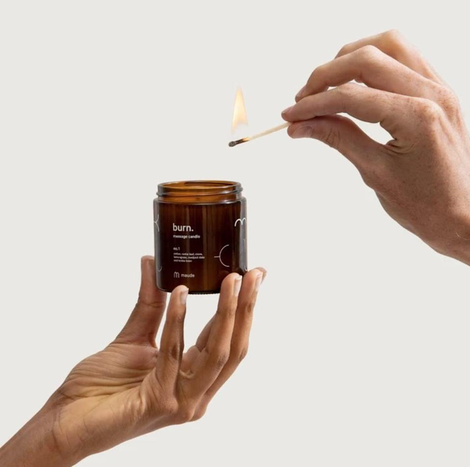 <p>When it comes to massage oil, the <span>Maude Burn No. 1 Massage Candle</span> ($18) is a great choice. The candle melts into soothing body oil.</p>