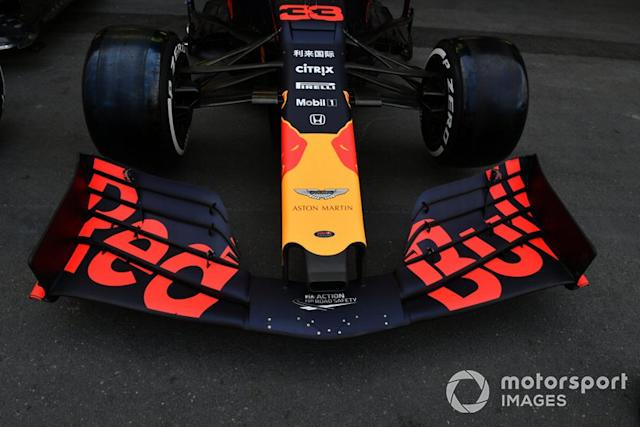 "Alerón delantero en Red Bull Racing RB15 <span class=""copyright"">Jerry Andre / Sutton Images</span>"