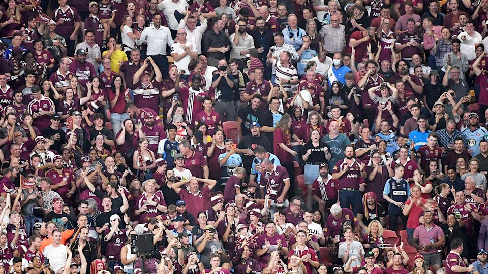 Fans, pictured here packing Suncorp Stadium for Game 3 of the 2020 State of Origin series.