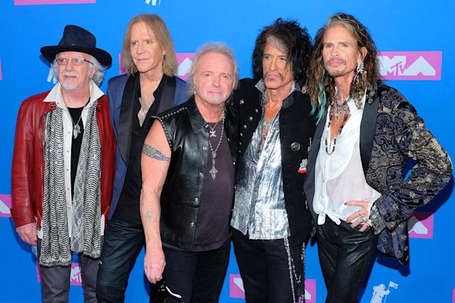 <p>Brad Whitford, Tom Hamilton, Joey Kramer, Joe Perry, and Steven Tyler of Aerosmith attend the 2018 MTV Video Music Awards at Radio City Music Hall on August 20, 2018 in New York City. (Photo: Matthew Eisman/FilmMagic) </p>