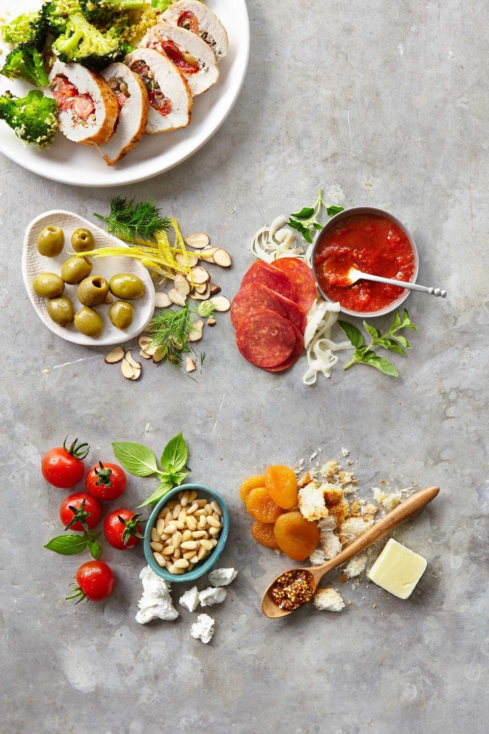 "<p>Give the weeknight staple an overhaul by stuffing it with one of these combos. (Each variation serves 4 and is ready in 30 minutes or less.)</p><p><a href=""https://www.countryliving.com/food-drinks/recipes/a39374/stuffed-chicken-4-ways-recipe/"" rel=""nofollow noopener"" target=""_blank"" data-ylk=""slk:Get the recipe."" class=""link rapid-noclick-resp""><strong>Get the recipe.</strong></a></p>"