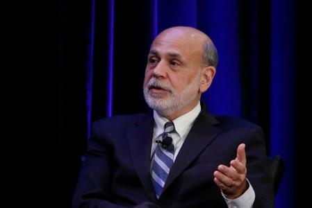 FILE PHOTO:  Former Federal Reserve Chairman Ben Bernanke speaks during a panel discussion in Atlanta