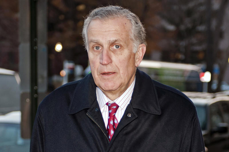 FILE - In this Nov. 30, 2012, file photo, former NFL commissioner Paul Tagliabue arrives at an attorney's office in Washington. Former NFL Commissioner Paul Tagliabue has made the Pro Football Hall of Fame in his fifth attempt.