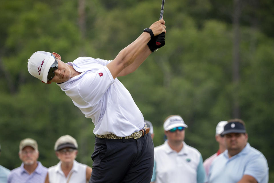Tain Lee tees off on the first hole during the third round of the Palmetto Championship golf tournament in Ridgeland, S.C., Saturday, June 12, 2021. (AP Photo/Stephen B. Morton)
