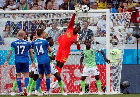 Soccer Football - World Cup - Group D - Nigeria vs Iceland - Volgograd Arena, Volgograd, Russia - June 22, 2018 Nigeria's Francis Uzoho in action REUTERS/Jorge Silva