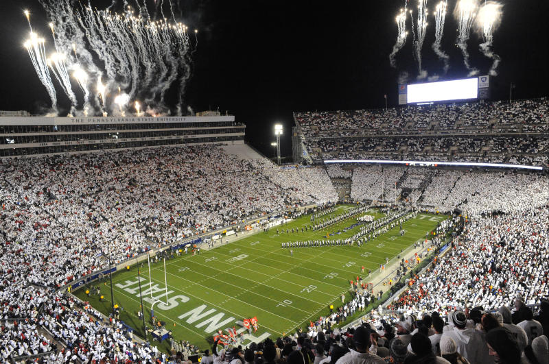 22 October 2016: The 10th ever whole stadium white out. The Penn State Nittany Lions upset the #2 ranked Ohio State Buckeyes 24-21 at Beaver Stadium in State College, PA. (Photo by Randy Litzinger/Icon Sportswire via Getty Images)