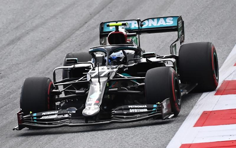 Mercedes' Finnish driver Valtteri Bottas steers his car during the Formula One Styrian Grand Prix race on July 12, 2020 in Spielberg, Austria. - AFP