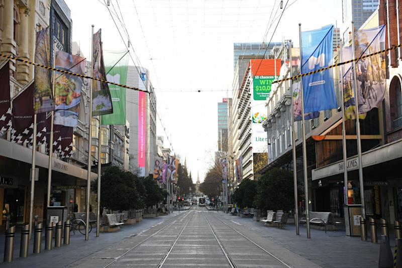 An empty Bourke Street Mall is seen as Melbourne goes into its second lockdown.