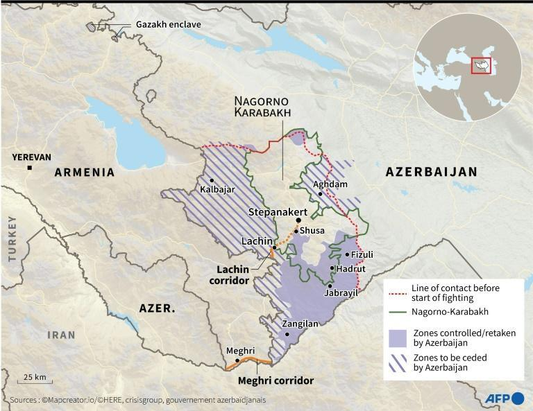 A map locating the disputed region of Nagorno-Karabakh