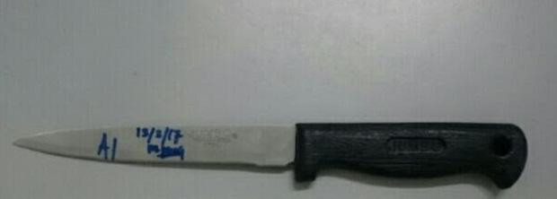 The 26cm knife used as a weapon by a man attempting to hurt his wife and baby.