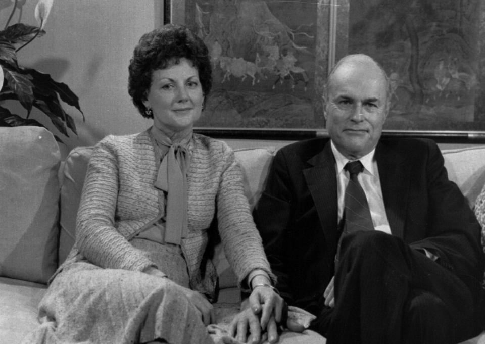 FILE - In this March 31, 1981 file photo, Jack and Jo Ann Hinckley pose together during an interview in New York. Jo Ann Hinckley, whose son John Hinckley Jr. attempted to assassinate President Ronald Reagan in 1981 and who spent her final years living with her son in Virginia, has died. Barry Levine, John Hinckley's longtime attorney, confirmed Hinckley's death to The Associated Press on Tuesday, Aug. 3, 2021. (AP Photo/File)