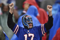 A Buffalo Bills fan celebrates minutes before the Bills defeated the Houston Texans 40-0 in an NFL football game, Sunday, Oct. 3, 2021, in Orchard Park, N.Y. (AP Photo/Adrian Kraus)
