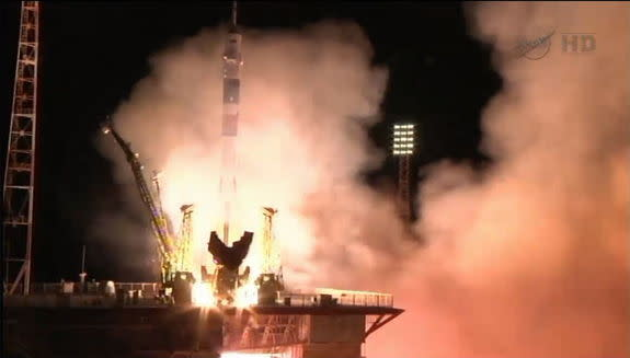 The Soyuz rocket carrying Expedition 35 crew members to the International Space Station launched from Baikonur Cosmodrome in Kazakhstan, March 28, 2013.