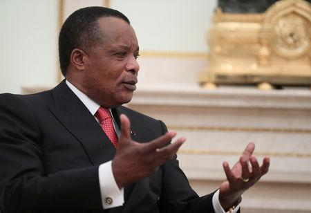 FILE PHOTO: President of Congo Republic Denis Sassou Nguesso speaks during a meeting with Russian President Vladimir Putin at the Kremlin in Moscow, Russia May 23, 2019. REUTERS/Evgenia Novozhenina/File Photo