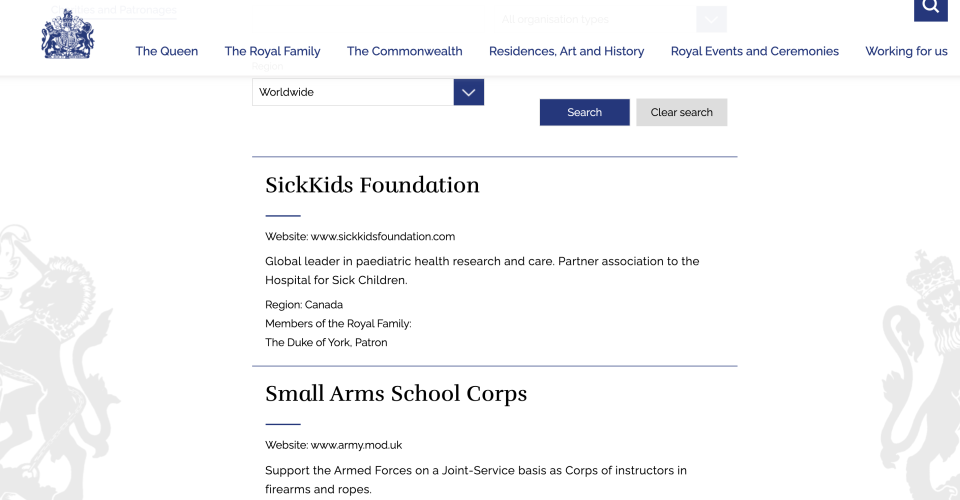 The Canadian charity SickKids is also listed. (Royal.uk)