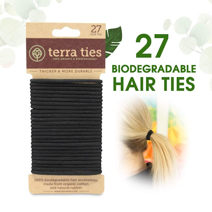 """<h3>Terra Ties Biodegradable Hair Elastics</h3><br><strong>Courtney</strong><br><br>""""Heard about them from a friend who works in beauty! As someone who is constantly losing hair ties — seriously, where do they go?! — the thought of them collecting dust somewhere keeps me up at night. Enter: Terra Ties. They look and feel just like the drugstore black elastics you know, love, and seriously can't keep misplacing, but are made of an entirely biodegradable blend of organic cotton and natural rubber. Even better, they don't leave weird bends or creases in your hair, and the paperboard they arrive packaged in is also compostable. Freaking. Genius.""""<br><br><strong>Terra Ties</strong> Biodegradable Elastic Hair Ties (27-Pack), $, available at <a href=""""https://amzn.to/3doInaz"""" rel=""""nofollow noopener"""" target=""""_blank"""" data-ylk=""""slk:Amazon"""" class=""""link rapid-noclick-resp"""">Amazon</a>"""