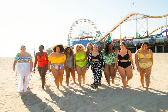 Gabi Gregg and the nine real women cast for Swimsuits for All campaign. (Photo: Courtesy of Swimsuits for All)