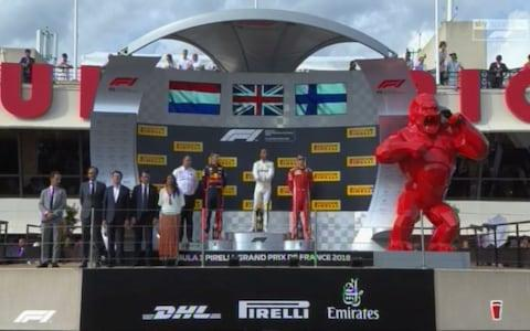 The French Grand Prix podium - Credit: SKY SPORTS F1