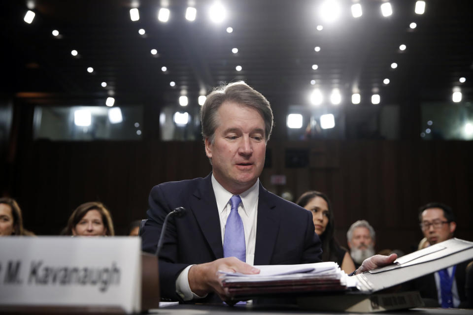 Brett Kavanaugh, President Trump's Supreme Court nominee, before the Senate Judiciary Committee Thursday. (Photo: AP/Alex Brandon)