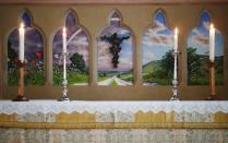 A mural by Julian Bell is seen inside St Michael and All Angels Church in the village of Berwick near Lewes