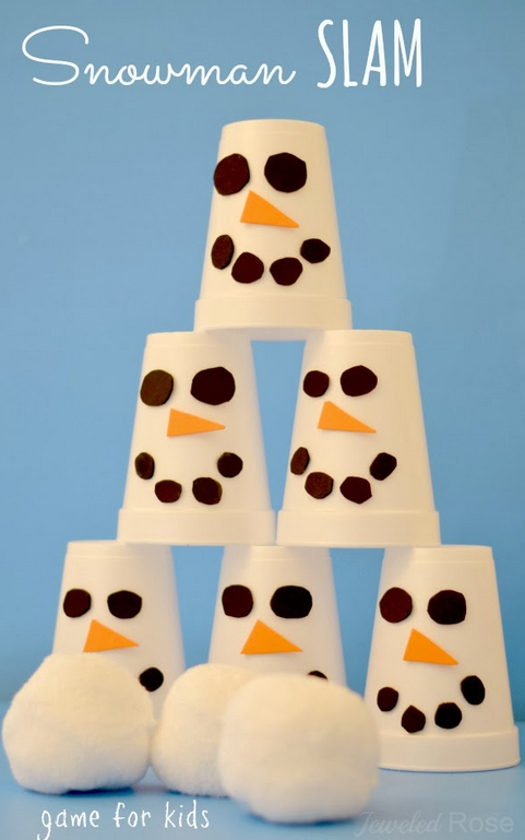 "<p>Transform white Styrofoam cups into mini snowmen, place them into a pyramid, and toss a makeshift snowball at them.</p><p><a class=""link rapid-noclick-resp"" href=""https://www.amazon.com/Disposable-White-Coffee-Cups-Gatherings/dp/B07BHPQM2C/ref=sr_1_26_s_it?s=hpc&ie=UTF8&qid=1535128950&sr=1-26&keywords=disposable+coffee+cups&tag=syn-yahoo-20&ascsubtag=%5Bartid%7C2140.g.35058682%5Bsrc%7Cyahoo-us"" rel=""nofollow noopener"" target=""_blank"" data-ylk=""slk:SHOP DISPOSABLE COFFEE CUPS"">SHOP DISPOSABLE COFFEE CUPS</a><br></p><p><em><a href=""http://www.growingajeweledrose.com/2013/12/snowman-slam-game-for-kids.html"" rel=""nofollow noopener"" target=""_blank"" data-ylk=""slk:Get the tutorial at Growing a Jeweled Rose »"" class=""link rapid-noclick-resp"">Get the tutorial at Growing a Jeweled Rose »</a></em><br></p>"
