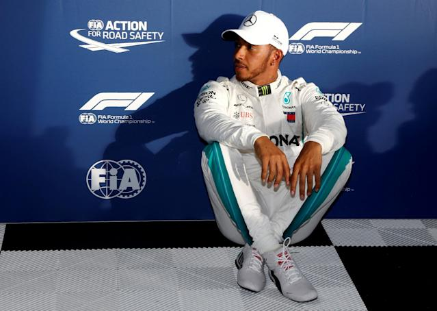 Formula One F1 - Australian Grand Prix - Melbourne Grand Prix Circuit, Melbourne, Australia - March 24, 2018 Mercedes' Lewis Hamilton after qualifying REUTERS/Brandon Malone TPX IMAGES OF THE DAY