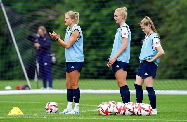 Steph Houghton, left, and Sophie Ingle