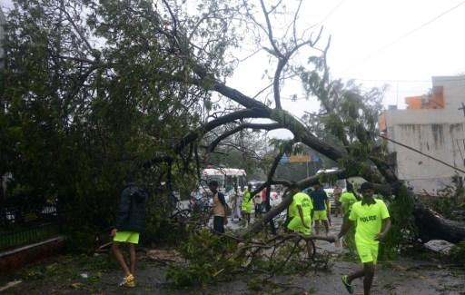 <p>Indian residents walk along a street strewn with debris and fallen trees in Chennai as Cyclone Vardah approaches the Indian coast on December 12, 2016. India on December 12 started evacuating thousands of people from fishing villages as Cyclone Vardah barrelled towards its southeastern coast at speeds of more than 100 kilometres (62 miles) per hour. / AFP PHOTO / STR </p>