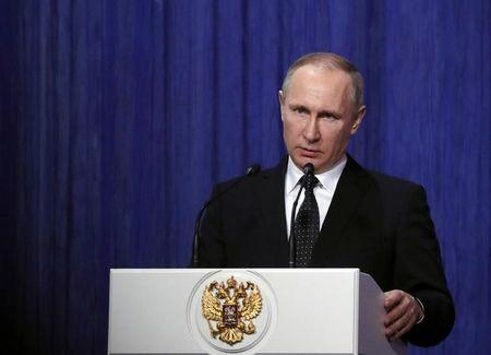 Russian President Putin delivers speech during gala evening dedicated to Day of Russian National Guard at Kremlin in Moscow