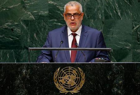 Abdelilah Benkirane, Prime Minister of the Kingdom of Morocco, addresses the 69th United Nations General Assembly at the U.N. headquarters in New York September 25, 2014.                        REUTERS/Lucas Jackson