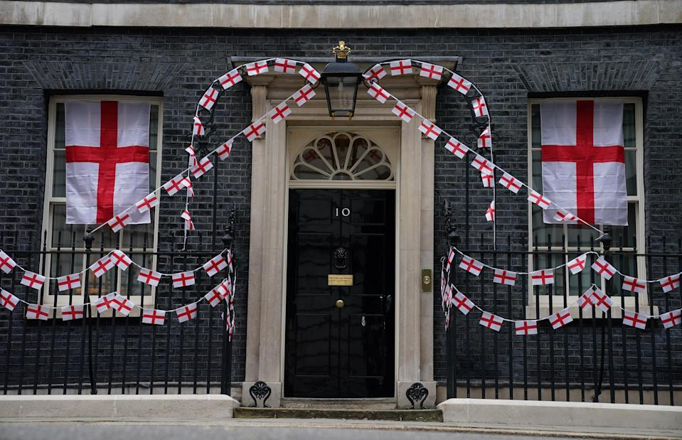 10 Downing Street bedecked in St George's flags (PA Wire)