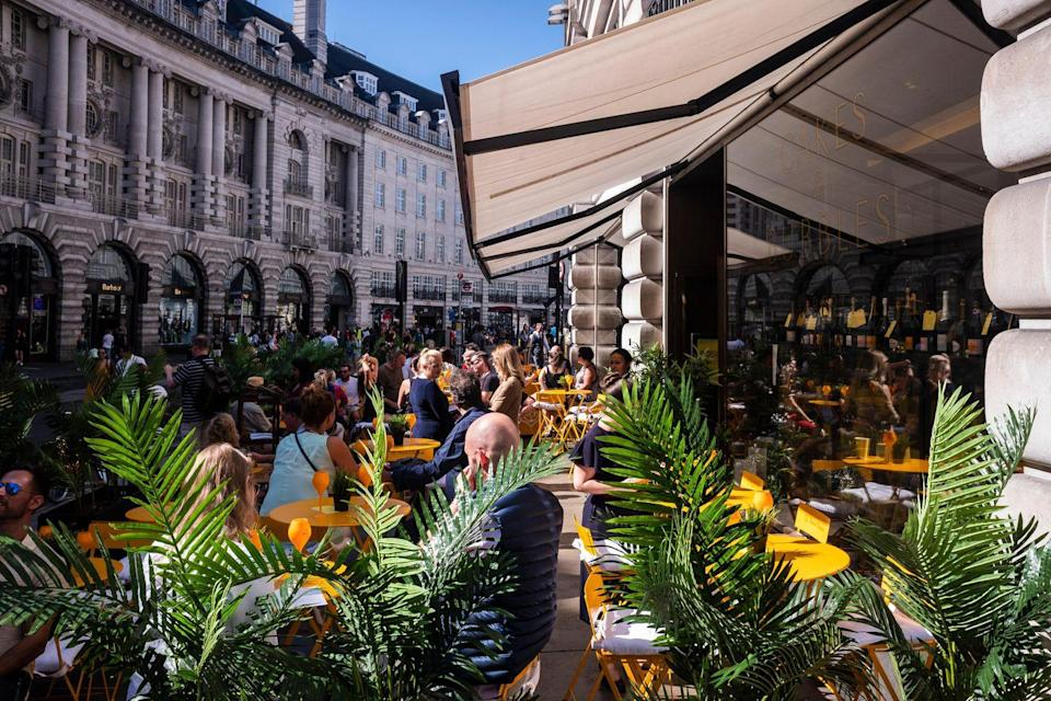 <p>The iconic Regent Street hotel is branching two of its venues outside. Its famed dessert-only venue Cakes & Bubbles is partnering with Veuve Cliqout for a terrace along Regent Street, while the hotel's Green Bar has partnered with Cloudy Bay winemakers for al fresco drinks and nibbles on neighbouring Glasshouse Street.</p>
