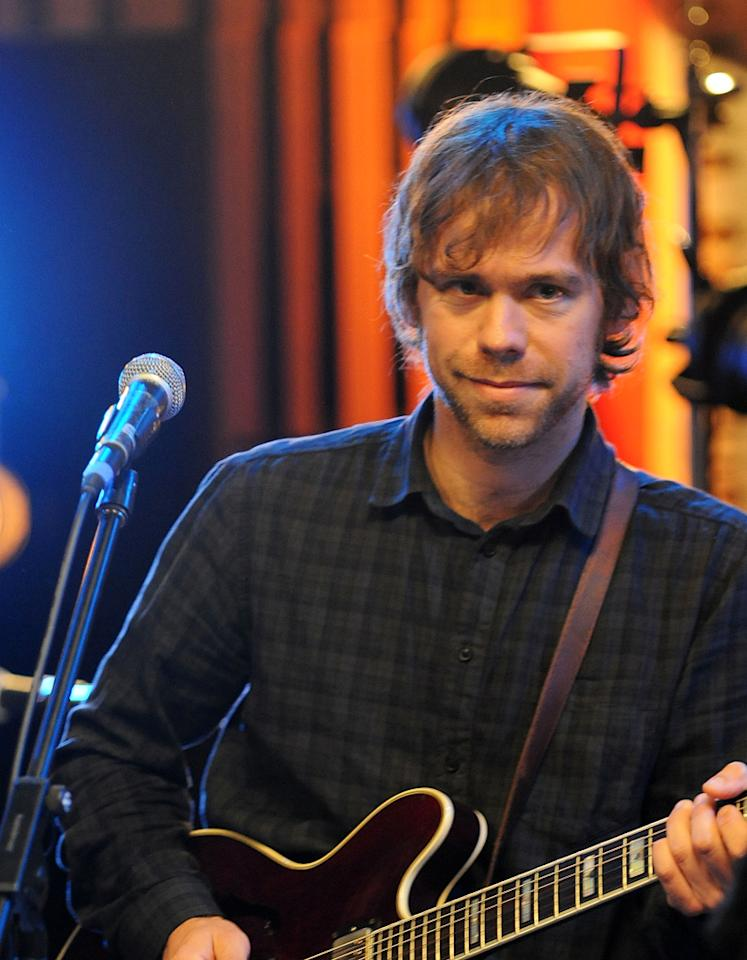 "Aaron Dessner of The National performs during the Yahoo! Music Presents ""The Bridge Session"" sponsored by Headcount at TRI Studios on March 24, 2012 in San Rafael, California."