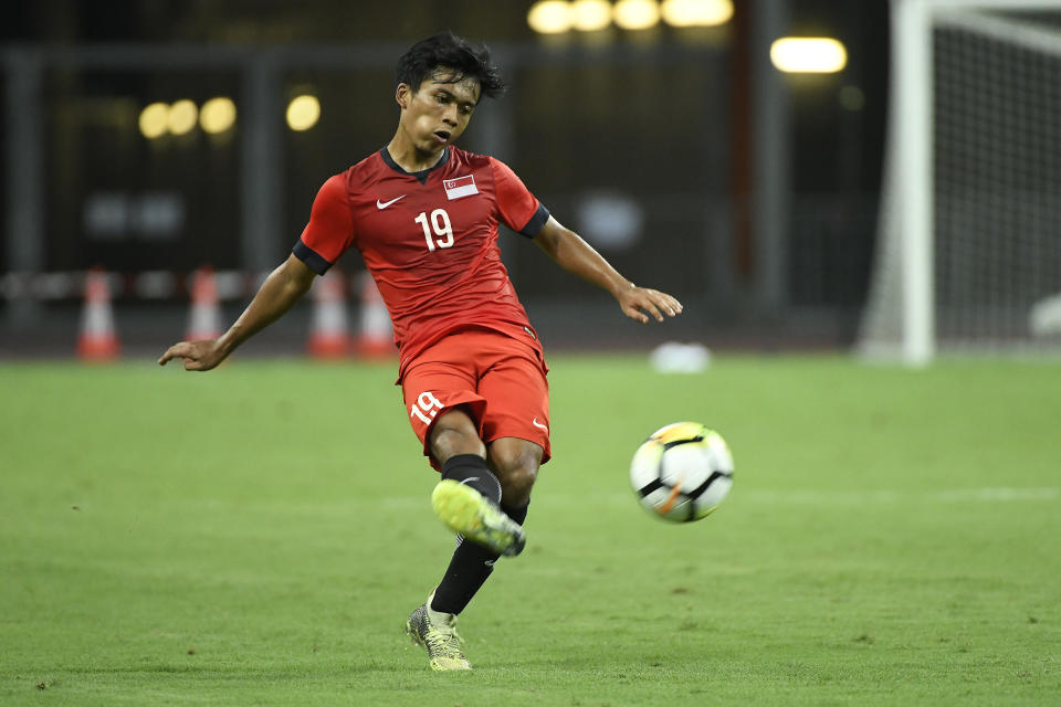 SINGAPORE - MARCH 21: Singapore U23's Hami Syahin with the ball during the international friendly match between Singapore U23 and Indonesia U23 at the National Stadium on March 21, 2018, in Singapore, Singapore. (Photo by Pictobank/Getty Images)