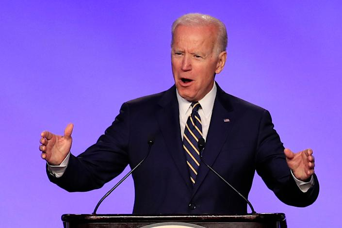 Former Vice President Joe Biden speaks at the International Brotherhood of Electrical Workers conference in Washington on Friday. (Photo: Manuel Balce Ceneta/AP)