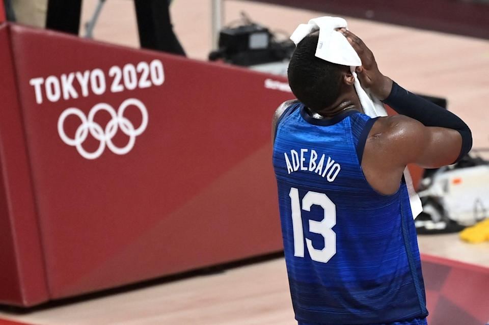 USA's Bam Adebayo reacts during Team USA's loss to France in their Olympic opener.