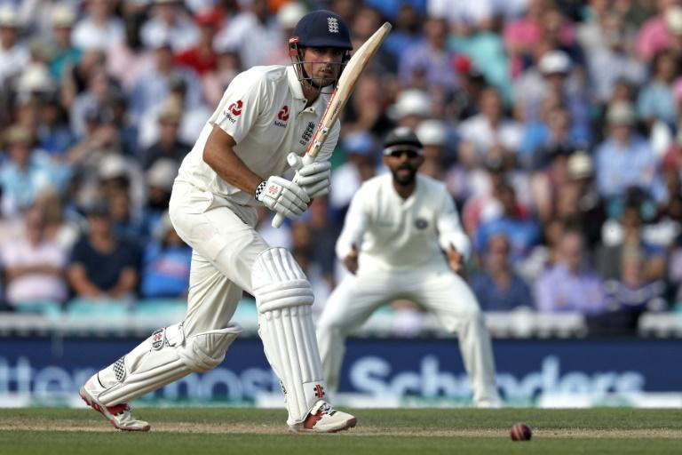 Alastair Cook is unbeaten on 46 overnight, bidding to end his Test career on a high